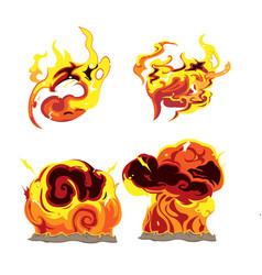 Fire bomb effect element set vector