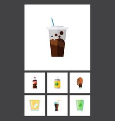 Flat icon soda set of bottle fizzy drink vector