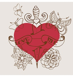 Old-school style tattoo heart with flowers and vector
