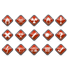 Danger round corner warning sign set vector
