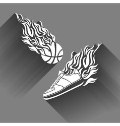 Basketball ball in flame sneakers icon color vector