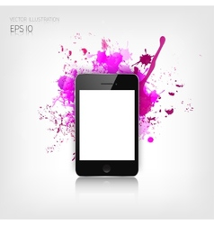 Realistic detalized flat smartphone with abstract vector