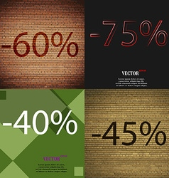 75 40 45 icon set of percent discount on abstract vector