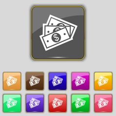 Us dollar icon sign set with eleven colored vector