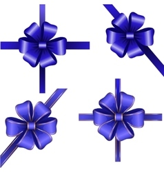 Sset of blue gift bows with ribbons vector
