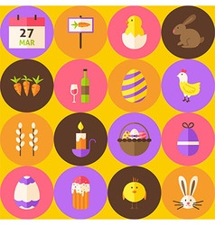 Yellow happy easter seamless pattern with circles vector