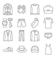 Mens clothes line icons set vector