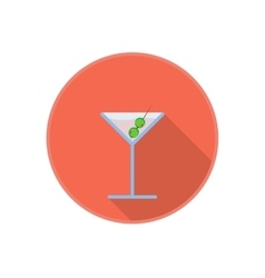 Symbol of pink martini drink with olives vector