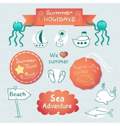 Beach graphic set with labels and inscriptions vector image vector image