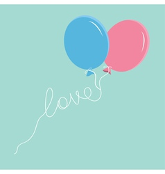 Blue and pink balloons with love thread flat vector