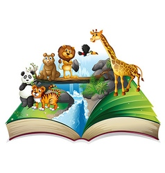 Book of wild animals at waterfall vector