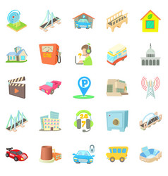burg icons set cartoon style vector image