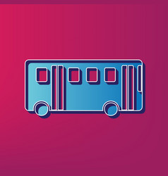 Bus simple sign blue 3d printed icon on vector