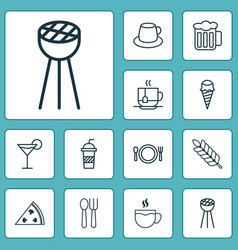 Cafe icons set with pizza soft drink disposable vector