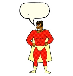 cartoon superhero with speech bubble vector image vector image