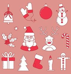 Christmas line design set vector image vector image