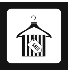 Coat hanger with scarf and sale tag icon vector