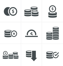 Coins Icons Set Design black color vector image