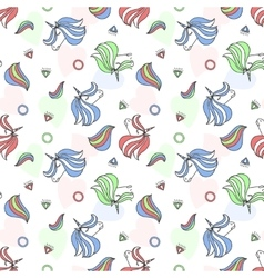Colorful seamless pattern with unicorn heart vector