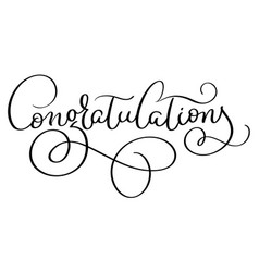 congratulations word on white background hand vector image