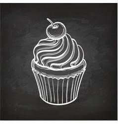 cupcake sketch on chalkboard vector image vector image