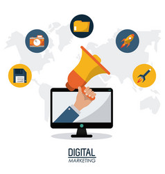 Digital marketing technology remote business vector