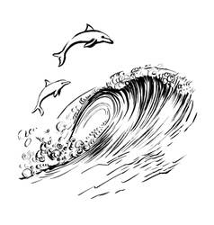 Dolphins jump in the waves brush ink sketch vector