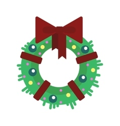 Flat Christmas wreath with balls and ribbon vector image vector image