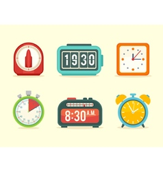 Flat clock icons set vector