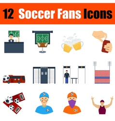 Flat design football fans icon set vector