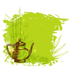 Green background with tea vector image vector image