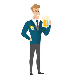 Groom drinking beer vector