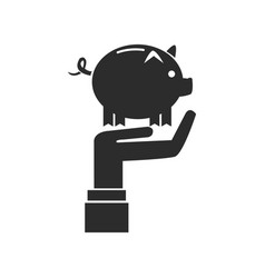 Hand holding piggy banking saving icon vector