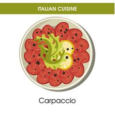 Italian cuisine carpaccio meat or fish appetizer vector
