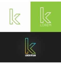 letter K logo alphabet design icon set background vector image
