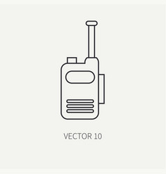 Line flat military icon - radio set army vector