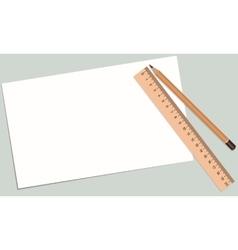 paper pencil ruler vector image