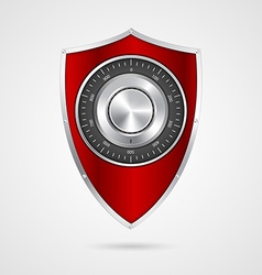 Protection red shield with the combination lock vector