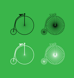 retro bicycle icon black and white color set vector image