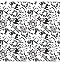 Seamless pattern with hand drawn fancy alphabet vector image vector image