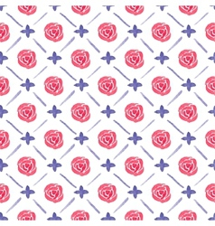 Seamless watercolor pattern with roses on the vector image vector image