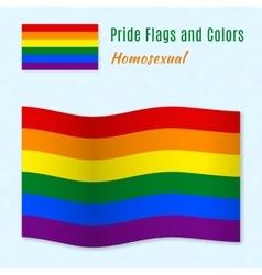 Six-color rainbow gay pride flag with correct vector
