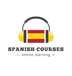spanish courses logo concept with flag and vector image vector image