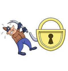 Thief has broken his crowbar vector