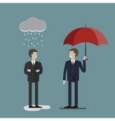Two Businessmen in Rain vector image