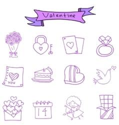 Valentine icons romance theme vector