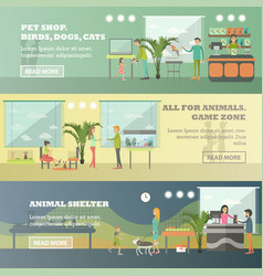 Set of pet store horizontal banners in flat vector