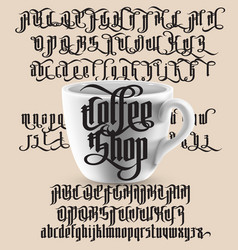 Coffee shop gothic font vector