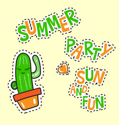 Summer party sun and fun poster vector
