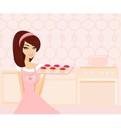sweet Housewife cooking vector image